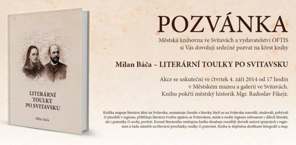 Pozvánka na křest knihy Literární toulky po svitavsku